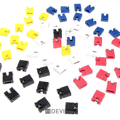 Lot de 50 Cavaliers x5 couleurs, pas de 2,54 mm. Jumper. DIY, Arduino, Pi, CM HD
