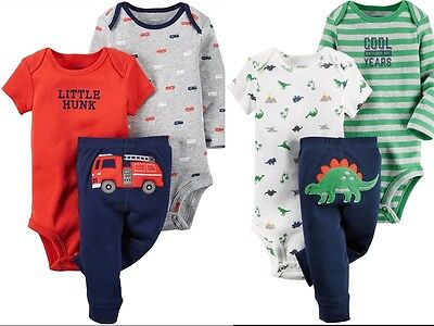 136a4f48fad4 CARTER S BABY BOY S 3 Pc Bodysuits   Pants Set Newborn or 3M Red or ...