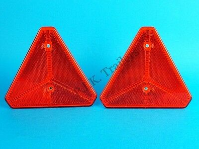 2 x Red Triangle Reflectors with Cut-Out Corners Ifor Williams Trailer Horse Box