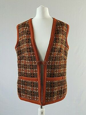 Vintage Welsh Tapestry Waistcoat Wool Check Folk 70s Hippy Large