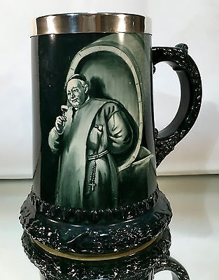 Early LENOX Wine Mug Hand Painted MONK PORTRAIT Sterling Slvr Rim C. 1896-1906