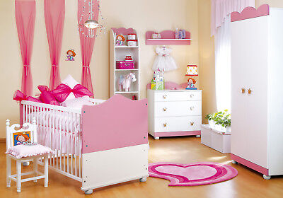 Baby Bedroom Furniture PRINCESS Set 2-7pc's Wood Pink Bed Commode Wardrobe Shelf