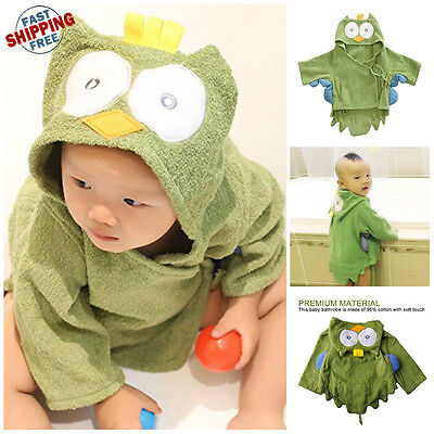 Cute Animal Cartoon Baby Kids Hooded Bathrobe Toddler Boys Girls Bath Towel NEW!