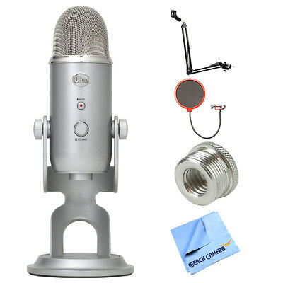 BLUE MICROPHONES Yeti Ultimate USB Microphone - Silver w/ Accessories Bundle