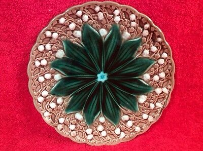 Antique German Majolica lily of the Valley Plate, gm643 ANTIQUE GIFT IDEA!!