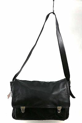 COACH Black Leather Double Clasp Business Messenger Bag - # 5100