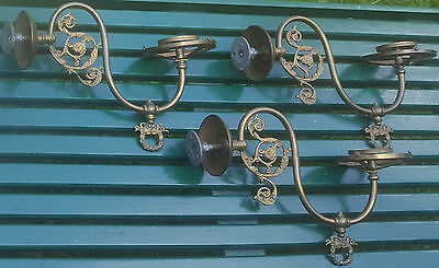 Antique Ornate Brass Gas Light Wall Fixture Sconce Set of 3  To Restore 1800's