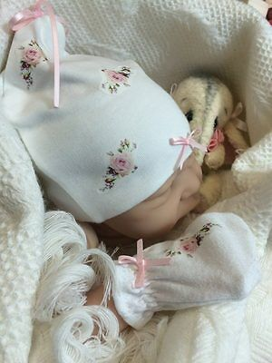 *BEST SELLER* Newborn baby girl Vintage roses hat, bootees and mittens set