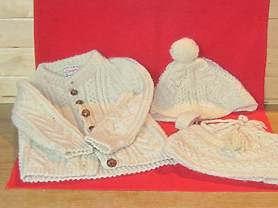 Vintage wool Donegal hand knit Cladyknit childs sweater & 2 hats