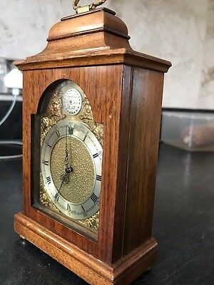 Elliott Timepiece/Mantle Clock. London made. Solid wood with brass feet