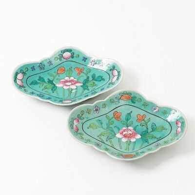 """Pair of Chinese Hadn Painted Porcelain Turquoise Floral Tongzhi Platters 10.5"""" L"""
