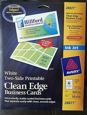 Avery True Print Clean Edge Business Cards Inkjet 2 x 3 1/2 White 120 pcs 28877