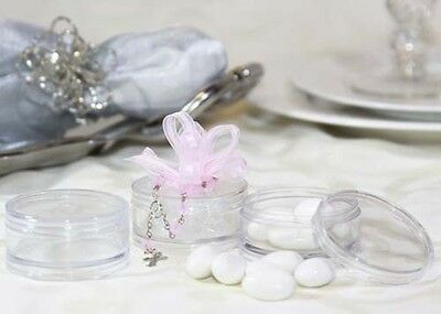 12pcs Clear Plastic Round Candy Favor Boxes with Cover Party Birthday