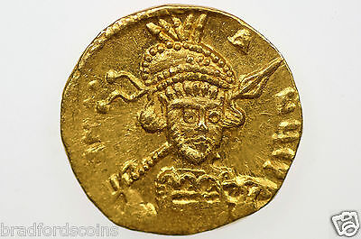 AD 668-685 Byzantine Empire Constantine IV Gold Solidus in Almost EF Condition