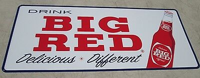 1960's BIG RED SODA SIGN LARGE METAL EMBOSSED NEW OLD STOCK NEVER HUNG