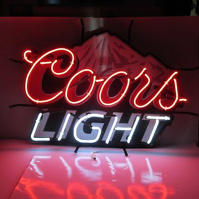 Coors Light Beer Neon Lit Bar Sign Colorado Mountains Nib Authentic