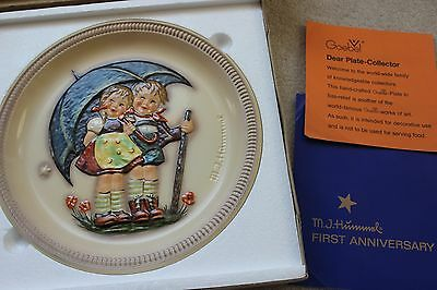 M.J. Hummel 1st Edition 1975 STORMY WEATHER Anniversary Plate in Bas Relef