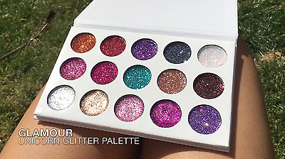 Unicorn Glitter Eyeshadow Palette 15 Colours Make-Up Shadow UK 1ST CLASS