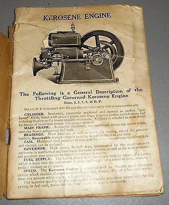 Orig Hercules Gas Engine Co. Instruction Book and Repair List 8-20-25M Form 2538