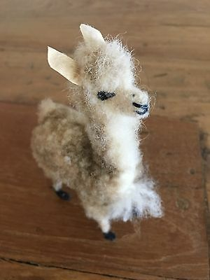 Vintage Llama Felted Wool Miniature Excellent Condition