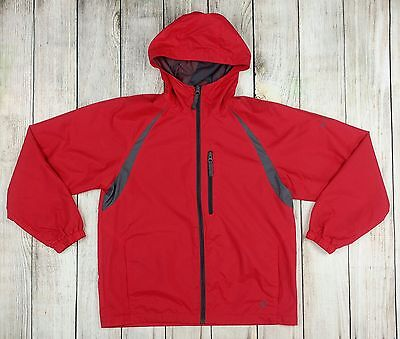 Columbia Red Gray Full Zip Hooded Windbreaker Rain Jacket Hood Youth Sz 14/16