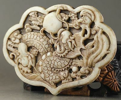 Hot Chinese Old Jade natural Hand Carved statue of dragon pendant  AAA