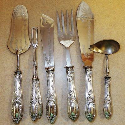 Six Continental ITALIAN SILVER Handled .800 SERVING Pieces, Cake & Fish Servers