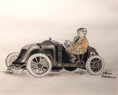 Charles Addams Original Portrait Drawing of GOMEZ ADDAMS In His Roadster, Signed