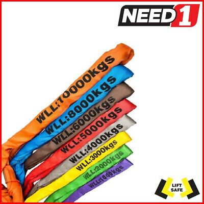 LIFT SAFE - Round Lifting Slings - 1, 2, 3, 4, 5, 6, 8, 10 Tonne - 1m to 10m
