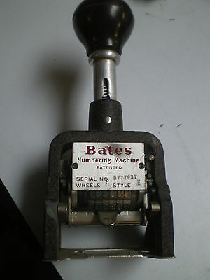 Old Bates Numbering Machine Style E 6 Wheel