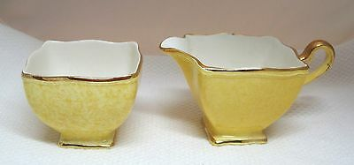 OLD Ascot Flared Royal Winton Yellow Cream & Opened Sugar Bowl Mottled NICE! T58