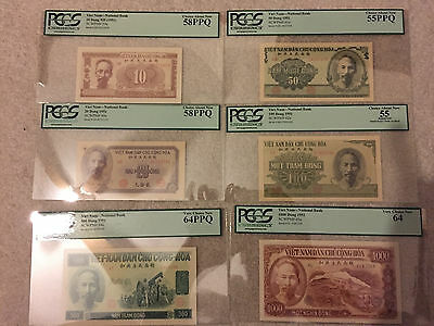 LOT OF SIX 1951 Vietnam Notes, 10 Dong to 1000 Dong, All PCGS Graded Notes