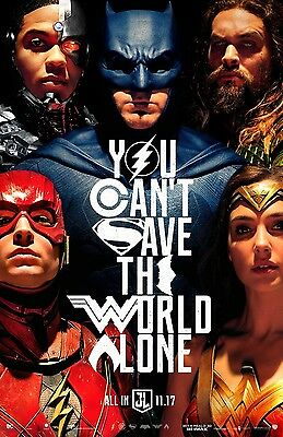 "JUSTICE LEAGUE 2017 Advance Ver B DS 2 Sided 27X40"" Movie Poster Batman Flash"