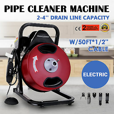 50FT*1/2'' Drain Auger Pipe Cleaner Cleaning Machine Heavy Duty Local 160 RPM
