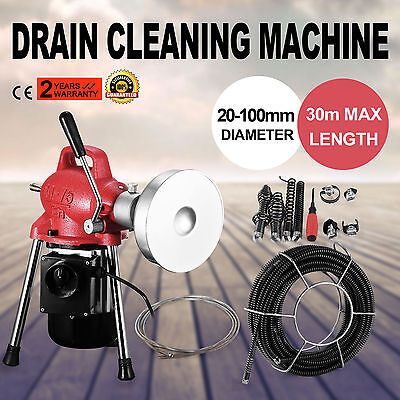 """3/4""""-4""""Dia Sectional Pipe Drain Cleaner Machine Flexible Powerful Electric"""