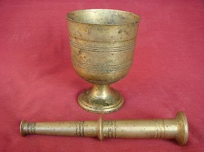 ANTIQUE SOLID BRONZE APOTHECARY PHARMACY MORTAR & PESTLE 19th CENTURY