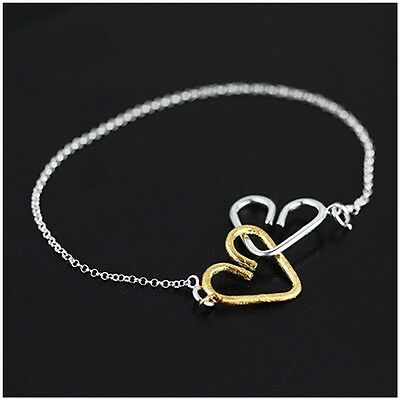 New! Handcrafted 925 Sterling silver Gold plated Heart bracelet +Gift bag