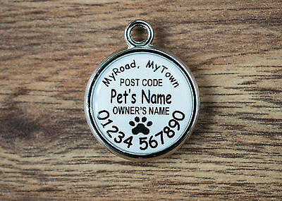 Black Paw Print Pet Dog Tag - Double Sided - Personalised Pet ID Tag Dogs Cats