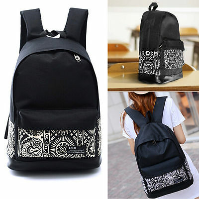 Girls Women Canvas Vintage Backpack Rucksack College Shoulder School Bag Black