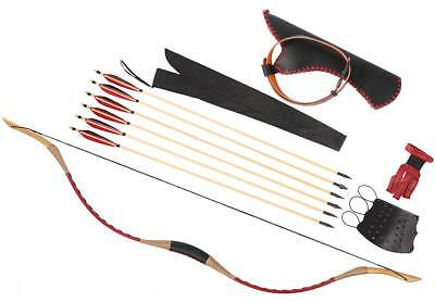 Archery Red Leather Longbow Recurve 20-110lb Bow Set + 6 Wood Arrow Waist Quiver