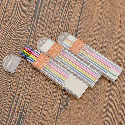3 Boxes 0.7mm Colored Mechanical Pencil Lead Refill Painting Stationary Kid Gift