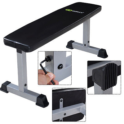 Flat Gym Weight Bench Press Barbell Dumbbell Lifting Workout Exercise Fitness