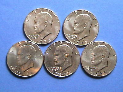 Lot Of 5 ( Uncirculated ) Eisenhower Dollars  H2