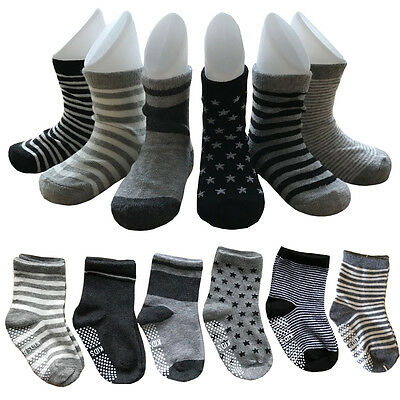 6 Pairs Assort Baby Non Skid Anti Slip Ankle Cotton Toddler Socks For 1-3 years