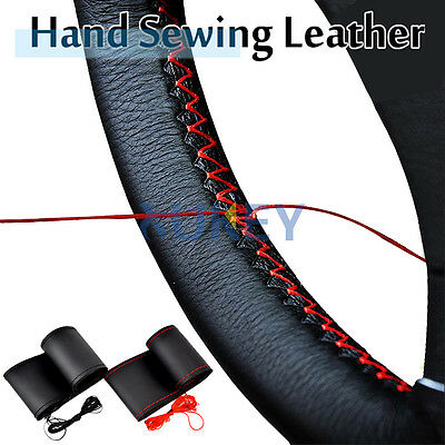 DIY Fine Leather Car Auto Steering Wheel Cover W/ Needles and Thread Hand Sewing