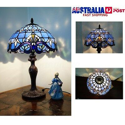 Classical Baroque Style Stained Glass Table Lamp Floral Bedside Light Room Decor