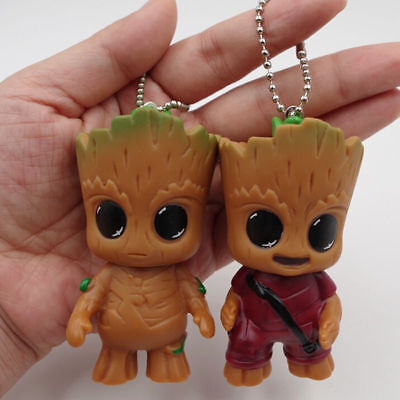 2PC Keyring Guardian of the Galaxy Vol.2 Baby Groot Key Chain Figure Statue Gift
