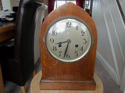 Edwardian oak cased lancet chiming clock for collection Rayleigh Essex