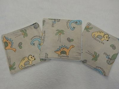 Handmade Baby Wipes Top 2 Toe - 100% Cotton - Dinosaurs Grey Taupe - Set of 3