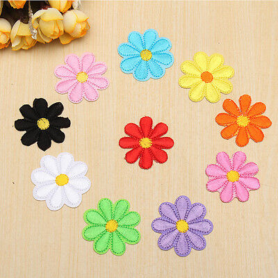 10pcs Colorful Mini Embroidered Flower Sew Badge Iron on Bag Fabric DIY Clothes
